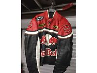 RED BULL RACING MOTORCYCLE LEATHER JACKET MEDIUM