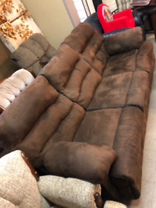 FAPO - Suede Couch & Loveseat Set