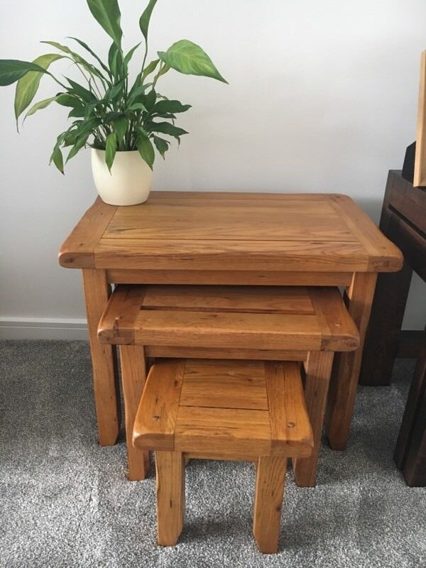 Solid Oak Nest Of Tables Furniture Barn Excellent Condition Newcastle
