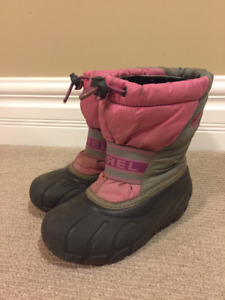 Sorel Pink and Grey Winter Boots - Girls Size 12