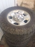 Full set of rims and tires bolt on ready f250-350
