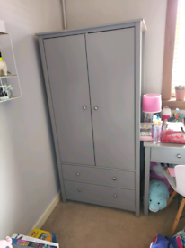 Grey Wooden Wardrobe