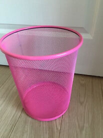 WH Smith Bright Pink Waste Paper Basket