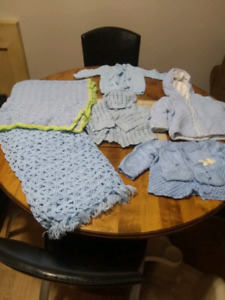 Baby knit clothing and blankets for sale