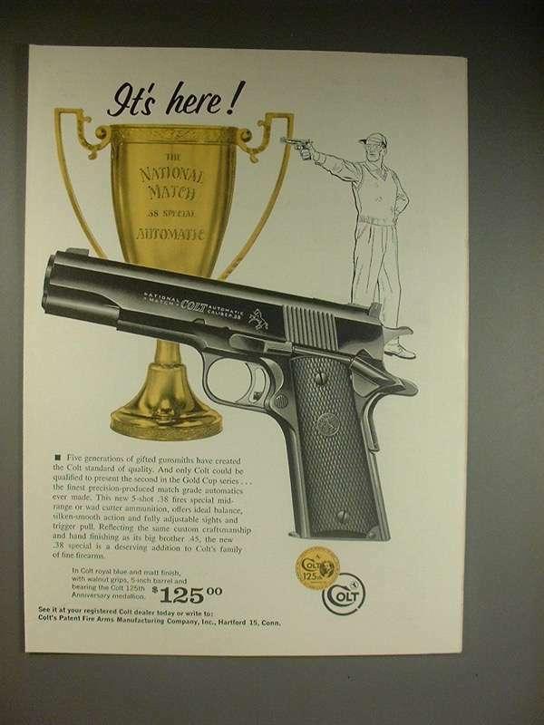 1961 Colt .38 Automatic Pistol Gun Ad!