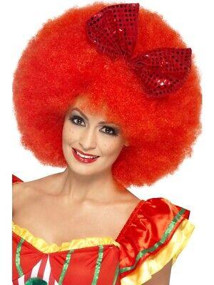 Mega Afro Perücke rot für Clownkostüm mit Schleife - Clown Afro Perücke Kostüm