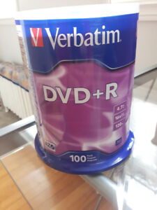 *New* Verbatim 100 Pack DVD+R 4.7GB 16X Speed 120mins