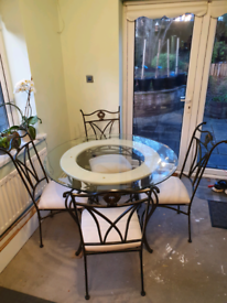 Wrought Iron & Glass Round Table with 4 Chairs