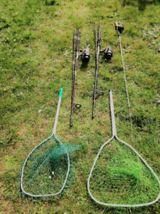 Vintage Fishing Rods and Reels and Nets