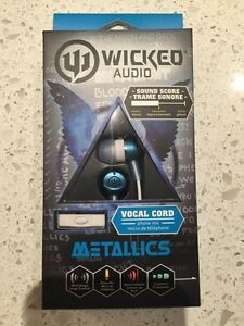Brand New Wicked Audio Metallics Earbud Headphones with Mic!
