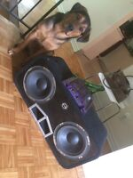 """2 10""""sub with boss amp"""