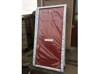 Composite fire door. White internal, red external. 101cmx208cm. Sidey door