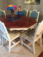 Solid Oak Refinished pedestal table and 6 chairs - Collingwood
