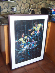 Huge framed picture of Soccer game moment with goalkeeper