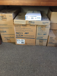 NEW IN BOXES Mansfield Essence Toilet, Pedestal Sink, Faucet