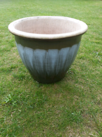 Green with blue wash glazed planter