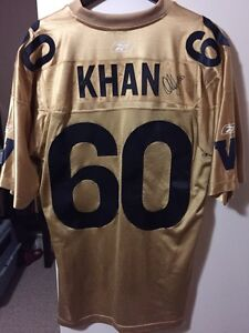 Obby Khan signed Blue Bombers jersey
