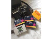 Vintage Silette film camera, including 5 film rolls and case