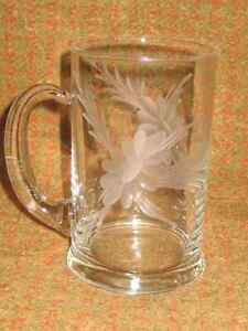 ETCHED CRYSTAL BEER STEIN