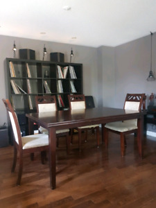 Oak and pine solid wood table and chairs