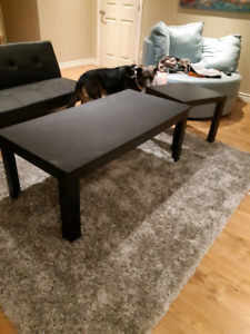 Black coffee table and side table