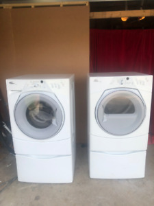 whirlpool front load washer dryer with pedestals drawers