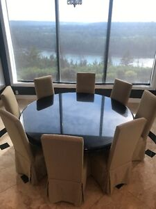 Formal Granite Dining Room Table & 8 Chairs- Virtually New