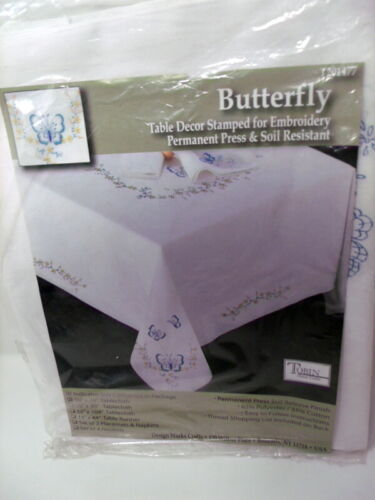"""Tobin Stamped Cross Stitch Embroidery Tablecloth BUTTERFLY 50"""" x 70"""""""