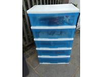 5 drawer plastic storage unit