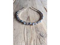 Blue pearl bridesmaid / prom headband
