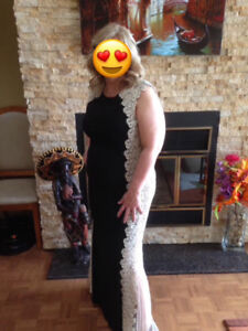 Black Jersey Lace Gown
