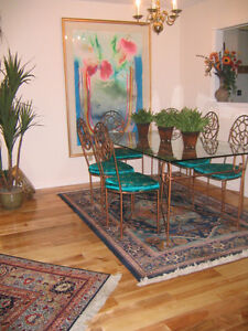 Custom Mexican wrought iron patio table & 4 chairs
