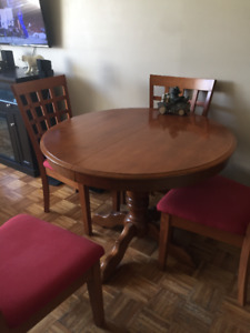 1 TABLE RONDE 4 CHAISE BOIS MASSIFE VRAIS BOIS NEGAUSIABLE