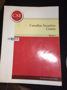 Canadian Securities course(CSC) Volume1