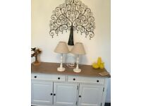 A PAIR OF SHABBY CHIC TABLE LAMPS