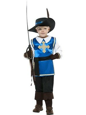 Boys Musketeer Costume Halloween Soldier Renaissance Cavalryman Kids Child S M L (Renaissance Costume For Boys)