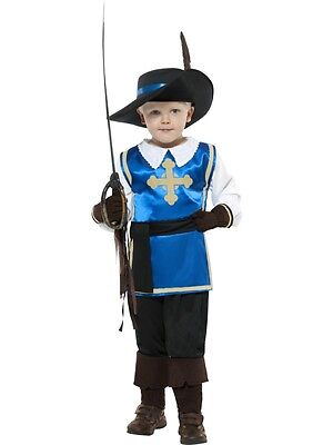 Boys Musketeer Costume Halloween Soldier Renaissance Cavalryman Kids Child S M L - Boys Renaissance Costumes