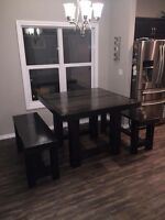 Beautiful Hand Made Rustic Dining Table w/ Bench