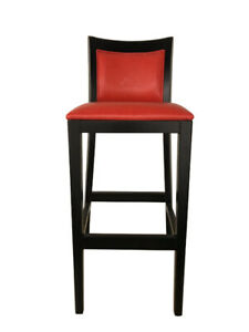 IBTech Barstool PU Leather Solid Wood BST-2A Red&Black