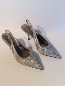 Silver Sequined Slingback Shoes - Size 10M