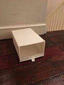 White ikea shoe boxes (Velcro side closure)