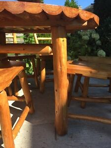 Natural wood rustic dinning table 6 chair  Stratford Kitchener Area image 8
