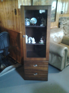 WOODEN DISPLAY CABINETS x 2