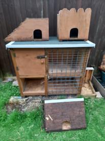 Rabbit hutch, hideaways, bowls, pellets, litter tray, hay, straw etc