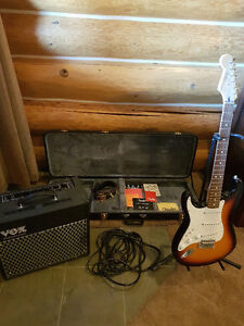 Mint Condition Left H Fender Strat with Vox amp and case