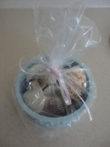 LOT OF ASSORTED SEASHELLS IN ROUND BLUE CONTAINER