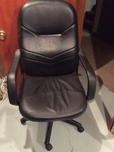 Leather rolling desk chair