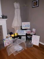 Wedding musts- Dress $650, + veil , &many decorations available