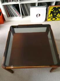 Mid century vintage teak smoked glass retro coffee table
