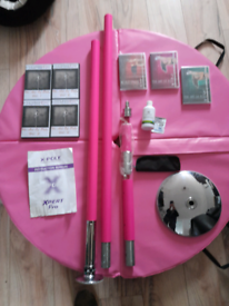 X-Pole© PRO XPERT (PX) 45mm Pink Spinning Pole + Loads of Extras
